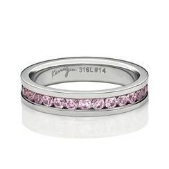 Kenny & co. - Full Pink Crystals Steel Ring