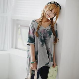 GOROKE - V-Neck Floral T-Shirt Dress