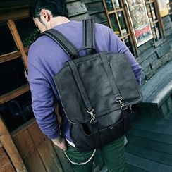 Mr.ace Homme - Faux Leather Buckled Backpack