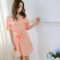 Tokyo Fashion - Shoulder Cut Out Tie Waist Dress