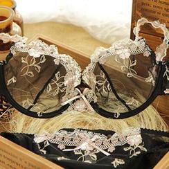 HYG Lingerie - Set: Embroidered Sheer Bra + Panties