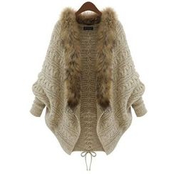 Poppy Love - Furry Trim Cable Knit Long Cardigan