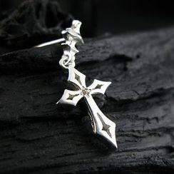 Sterlingworth - Hand Made Cross White Sapphire Single Earring