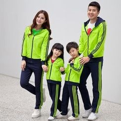 Lovebirds - Set: Family Striped Hoodie + Sweatpants