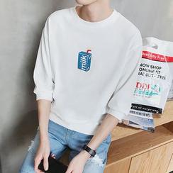 Besto - Printed 3/4-Sleeve Sweatshirt
