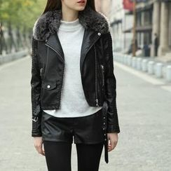 Neeya - Faux Fur Trim Faux Leather Biker Jacket