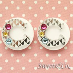 Sweet & Co. - Swarovski 'C' Button Studs Earrings