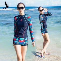 SANQI - Set : Raglan Print Rashguard + Swim Shorts