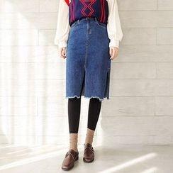 Seoul Fashion - Slit-Hem Denim Skirt