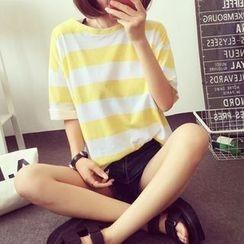 Fumoya - Stripe Short-Sleeve T-Shirt