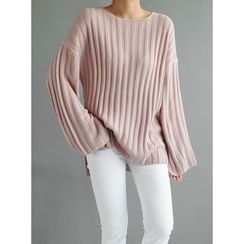 STYLEBYYAM - Wide-Sleeve Ribbed-Knit Top