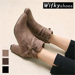 Wifky - Beribboned Faux-Suede Ankle Boots