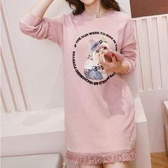 Carabecca - Dog Print Fringe Hem Long Sleeve T-Shirt Dress