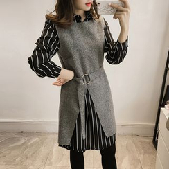 Little V - 套裝: 條紋襯衫裙 + 長款毛呢背心