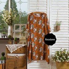 Rosadame - Short-Sleeve Floral Print Shift Dress