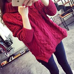 Asally - Turtleneck Cable Knit Chunky Sweater