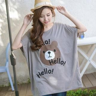 YoungBaby - Bear Print Oversized T-Shirt