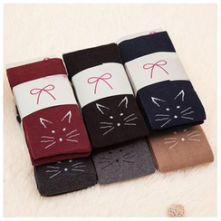 Hyoty - Embroidered Cat Knit Leggings