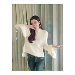 ATTYSTORY - Slit-Sleeve Wool Blend Sweater