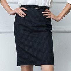 Aision - Stripe Pencil Skirt