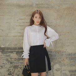 WITH IPUN - Wool Blend Miniskirt