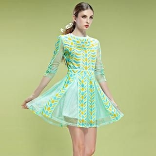 ELF SACK - Patterned Panel Mesh A-Line Dress