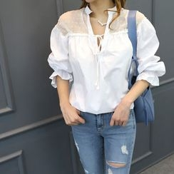 DANI LOVE - Sheer-Panel Ruffle-Sleeve Blouse