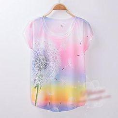 Classic Lady - Dandelion Print Short-Sleeve T-Shirt