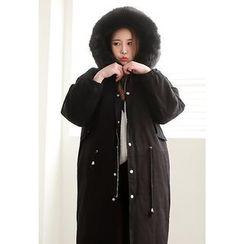 Dalkong - Detachable Faux-Fur Hooded Long Parka