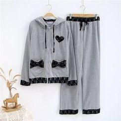 Janseed - 家居服套装: 蕾丝边连帽拉链夹克 + 裤