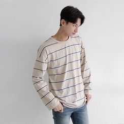 Seoul Homme - Long-Sleeve Stripe T-Shirt