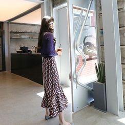Hello sweety - Ruffle-Hem Patterned Midi Skirt