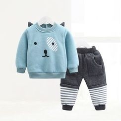 ciciibear - Kids Set: Print Sweatshirt + Stripe Panel Pants