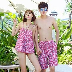 Sewwi - Women Floral Bikini + Cover-Up Set / Men Swim Shorts