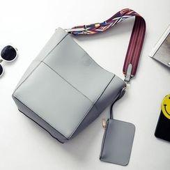 Velocia - Set: Faux Leather Shoulder Bag + Zip Pouch