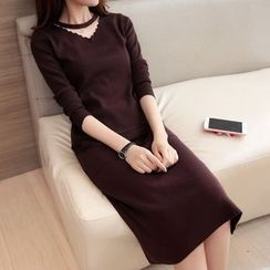Shomez - Set: V-Neck Sweater + Midi Knit Skirt