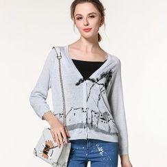 Edera - Printed Sheer Knit Cardigan