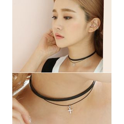 Miss21 Korea - Faux Leather Choker (2 Designs)