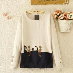 JVL - 貓咪貼飾配色毛衣