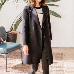 Seoul Fashion - Wide-Lapel Single-Breasted Coat