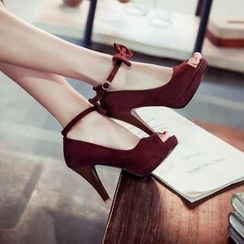Pastel Pairs - High Heel Peep Toe Bow Pumps