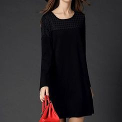 Mythmax - Long-Sleeve Paneled A-Line Dress