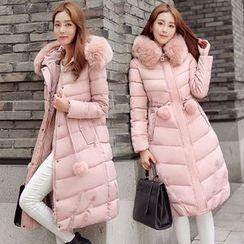 Rosehedge - Pompom Furry Trim Hooded Long Padded Coat