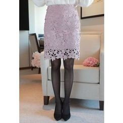MyFiona - Perforated Lace Pencil Skirt