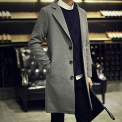 Seoul Boy - Notch Lapel Single-Breasted Long Jacket