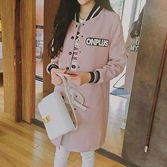 lilygirl - 钮扣长款棒球外套