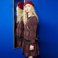 ELF SACK - Long-Sleeve Lace-Panel Dress