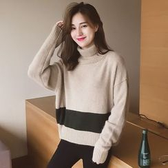 Cocofield - Turtleneck Colour Block Knit Top