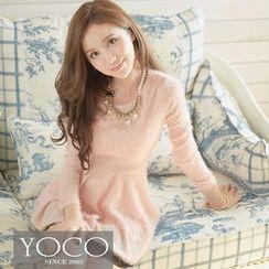 Tokyo Fashion - Mesh-Hem Furry-Knit A-Line Dress