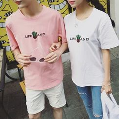 Azure - Couple Matching Embroidered T-Shirt